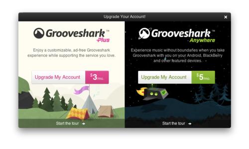 Grooveshark's upgrade ad